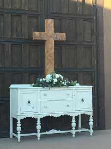 Cross we made for the wedding. This photo was taken at the chapel.